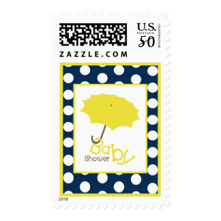 Baby Shower  - Yellow Umbrella Navy & Polka Dots Postage