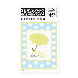 Baby Shower  - Yellow Umbrella & Polka Dots Postage