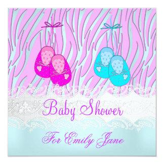 Baby Shower Zebra Pink Blue Baby Girl Or Boy Card