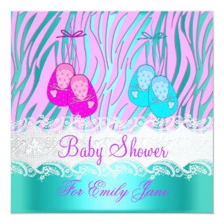 Baby Shower Zebra Pink Teal Blue Baby Girl Or Boy 5.25x5.25 Square Paper Invitation Card