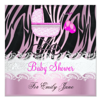 Baby Shower Zebra Pink White Baby Girl Card