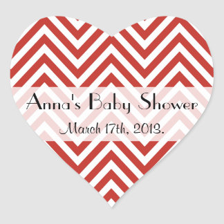 Baby Shower - Zigzag (Chevron), Stripes - Red Heart Stickers