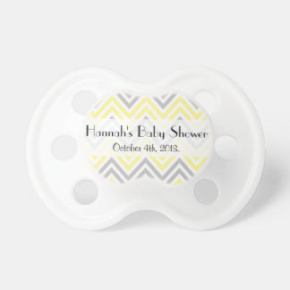 Baby Shower - Zigzag Chevron Stripes - Yellow Pacifier