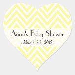 Baby Shower - Zigzag (Chevron), Stripes - Yellow Heart Sticker