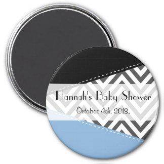 Baby Shower - Zigzag Pattern, Chevron - Gray Blue Magnet