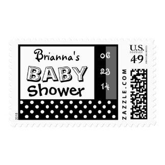 Baby Showr Black White Polka Dot Custom Name Postage