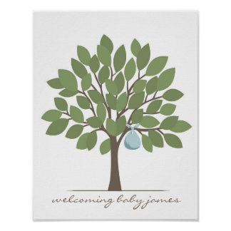 Baby Signature Tree - Blue Poster