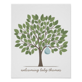 Baby Signature Tree - Large - Blue Posters