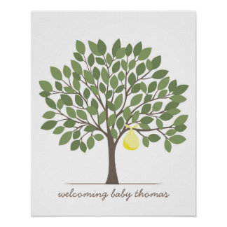 Baby Signature Tree - Large - Yellow Poster