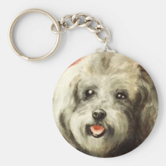 baby silver French poodle Basic Round Button Keychain