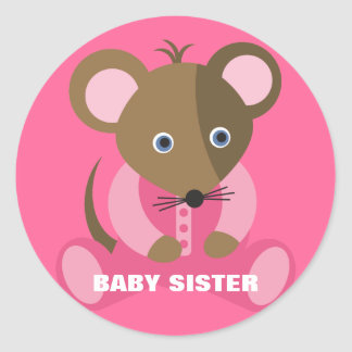 Baby Sister Baby Mouse in Pink Sleeper Classic Round Sticker