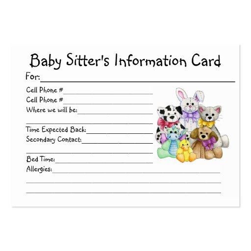 Baby Sitter's Information Card Large Business Cards (Pack Of 100)