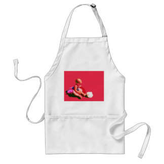 baby sitting and playing pink easter posterized co adult apron