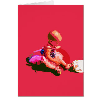 baby sitting and playing pink easter posterized co greeting card