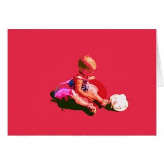 baby sitting and playing pink easter posterized co greeting cards