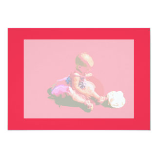 baby sitting and playing pink easter posterized co invitation