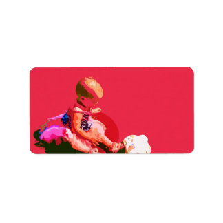baby sitting and playing pink easter posterized co personalized address label