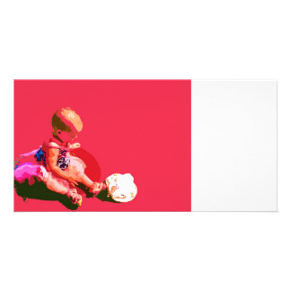 baby sitting and playing pink easter posterized co personalized photo card