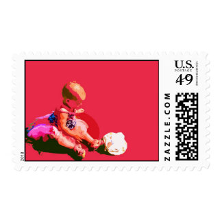 baby sitting and playing pink easter posterized co postage