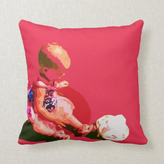 baby sitting and playing pink easter posterized co throw pillow