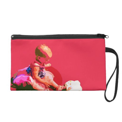 baby sitting and playing pink easter posterized co wristlet purses