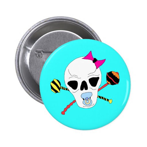 Baby Skull and Rattle Crossbones Button