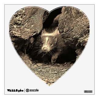 baby skunk, sepia wall decal