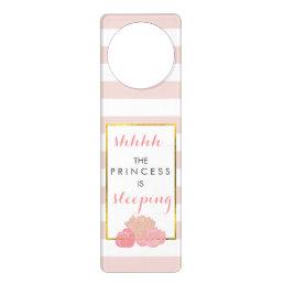 Baby Sleeping Door Hanger Pink Stripe Blush Peony