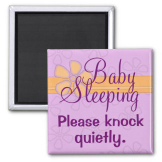 Baby Sleeping front door sign 2 Inch Square Magnet