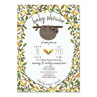 Baby Sloth Autumn Fall Baby Shower Greenery Card