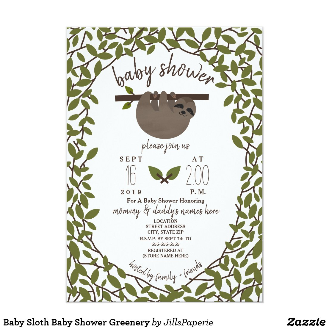 Baby Sloth Baby Shower Greenery Card