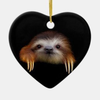 Baby Sloth Double-Sided Heart Ceramic Christmas Ornament