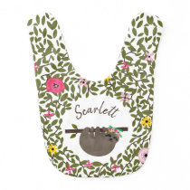 Baby Sloth Floral Greenery Personalized Baby Bib