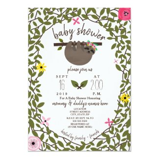 Baby Sloth Girl Baby Shower Greenery Card
