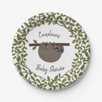 Baby Sloth Greenery Baby Shower Paper Plate