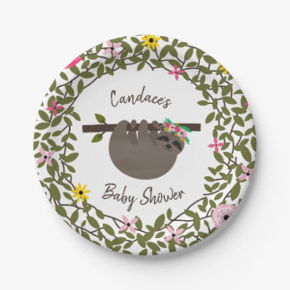 Baby Sloth Greenery Floral Baby Shower Paper Plate