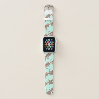Baby Sloths hanging on Tree Pattern Apple Watch Band