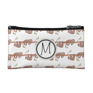 Baby Sloths hanging on Tree Pattern Cosmetics Bags