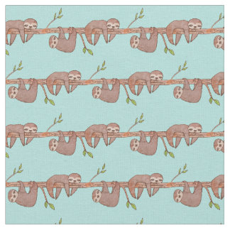 Baby Sloths hanging on Tree Pattern Fabric