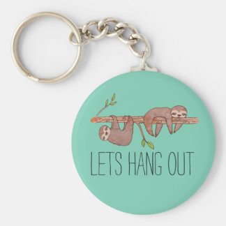 Baby Sloths hanging on Tree Pattern Keychain