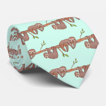 Baby Sloths hanging on Tree Pattern Neck Tie