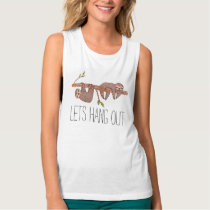 Baby Sloths hanging on Tree Pattern Tank Top