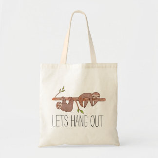Baby Sloths hanging on Tree Pattern Tote Bag