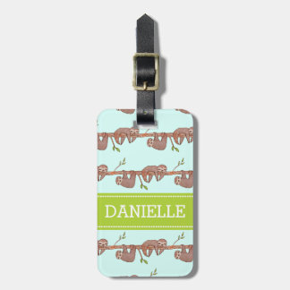 Baby Sloths hanging on Tree Pattern Travel Bag Tags