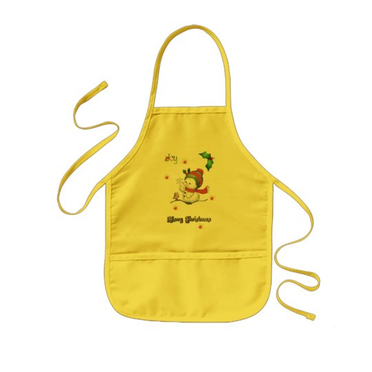 baby snowman talking to a baby bird childs apron