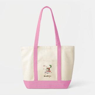 baby snowman talking to a baby bird handbag canvas bags