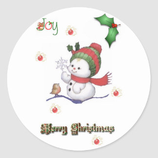 baby snowman talking to a baby bird stickers