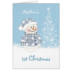 Baby snowman, tree with snow 1st Christmas Card at Zazzle