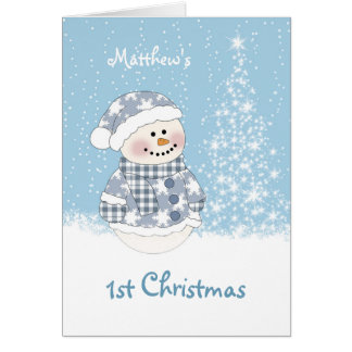 Baby snowman, tree with snow 1st Christmas Card