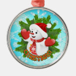 Baby Snowman with Crystal Snowflakes Ornament